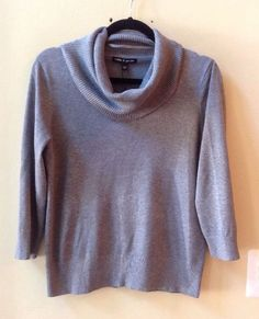 NWT CABLE & GAUGE WOMEN'S SOLID GRAY RAYON/POLY 3/4 SLEEVE SWEATER SIZE L #CableGauge #TurtleneckMock