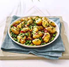 Italian-style warm potato salad - a brilliant, easy and healthy way to make the most of Jersey Royal new potatoes whilst they're in season. Serve alongside a simple roast chicken for the perfect summer Sunday dinner. Barbecue Recipes, Grilling Recipes, Pork Recipes, Veggie Recipes, Salad Recipes, Cooking Recipes, Healthy Recipes, Savoury Recipes, Simple Recipes