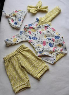 b7861a63f Organic Baby girl coming home outfit, Kimono bodysuit set with headband and  pants, preemie & newborn set, yellow floral, side snap bodysuit