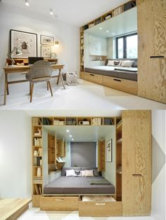 Compact Living — By Russian design firm - Prefab Homes 3 Bedroom Apartment, Home Bedroom, Bedroom Decor, Bedroom Ideas, Teen Bedroom, Teenage Bedrooms, Bed Ideas, Tiny Spaces, Small Apartments