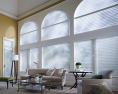 Silhouette® window shadings are remarkably designed to diffuse and draw daylight deeper into a room, reducing the need for artificial lighting, saving energy, and illuminating a home naturally.  ♦ Hunter Douglas window treatments #LivingRoom