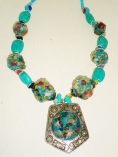 Vintage Necklace Choker Collar Very Chunky Turquoise by BagsnBling, $29.95
