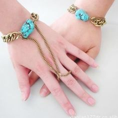 Couple Bracelet Gold Plated Chain with Blue Gemstone DC70B910 $17.50