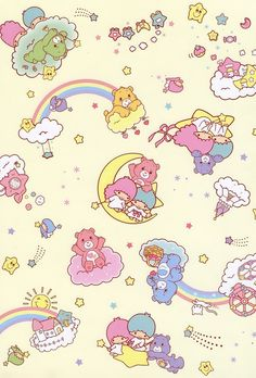 Thank you for this GIANT image! Little Twin Stars & Care Bears - Sanrio style file folder (I'm assuming) Sanrio Wallpaper, Bear Wallpaper, Kawaii Wallpaper, Pattern Wallpaper, Cute Backgrounds, Cute Wallpapers, Wallpaper Backgrounds, Care Bears, Sanrio Characters