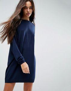 #ASOS - #ASOS ASOS Knitted Dress in Oversize with Crew Neck - Navy - AdoreWe.com