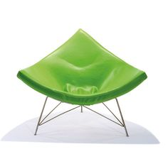 Coconut Chair by George Nelson for Herman Miller via dwell. Photo courtesy of LA Modern Auctions: Resplendent in green vinyl. #Chair #Herman_Miller #George_Nelson #dwell