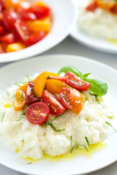 Creme Fraiche Risotto with Heirloom Tomatoes and Basil   GI 365