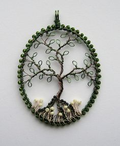 In The Woods beaded and wire wrapped tree of life pendant with mushrooms