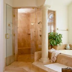 Large walk-in shower and tub