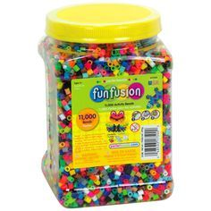 This jar of multi-mix beads from Perler contains a ton of colorful, creative fun for everyone. With this jar of Perler beads, you can work from your favorite patterns or create lots of cool, original designs. Hama Beads, Fuse Beads, Bead Crafts, Diy And Crafts, Crafts For Kids, Vbs Crafts, Beading For Kids, Peler Beads, Melting Beads