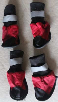 Red & Black Reflective Small dog booties/ dog boots adjustable velcro