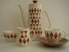 CHECKMATE COFFEE SET FROM EMPIRE PORCELAIN CO by frecklefacedgirl