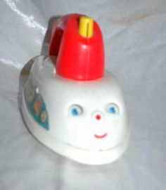 Vintage Fisher Price Musical Push Pull Toy Iron from the 1960's