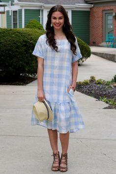 Amal Light Blue Plaid Drop Waist Midi Dress | Piper Street