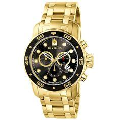 c9822d5e5d39 Men s Invicta Pro Diver Gold-Tone Chronograph Watch with Black Dial (Model   0072)