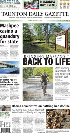 The front page of the Taunton Daily Gazette for Thursday, May 21, 2015.