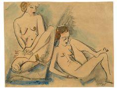 Two sitting naked women (Zwei sitzende weibliche Akte), 1918, Hermann Max Pechstein