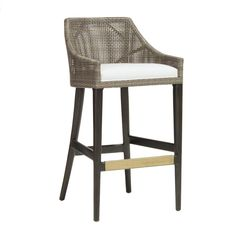 palecek+vincent+stool+-+Hardwood+frame+and+legs+in+black+brown+finish.+Double+wall+back+features+woven+synthetic+rattan+peel+in+mocha+finish.+Accented+with+an+antique+brass+metal+footrest+on+front+stretcher.+With+fixed+upholstered+seat+in+100%+sunbrella+acrylic+indoor/outdoor+sailcloth.+Suitable+for+Contract+use.