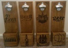 Personalized Wall Mounted Bottle Opener by WoodenManCave on Etsy, $60.00