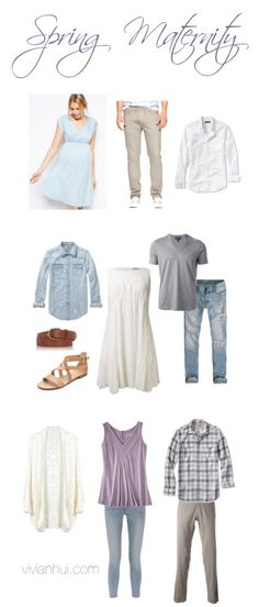 What to wear for maternity pictures. Spring outfit ideas with pretty pastel blues, purples and neutrals. #whattowear #styleguide #maternity #pastel