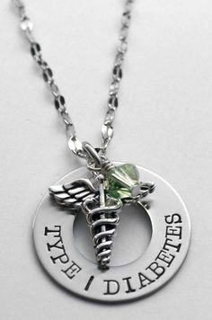 Hand stamped medical necklace - Medical Alert necklace - Choice of birthstone! - Diabetes - Epilepsy - Allergic to - Diabetic - Epileptic