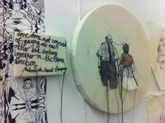 """harriet popham """"Love does not consist of gazing at each other but looking together in the same direction. Jam Jar, Fabric Art, Project Ideas, Projects, Arts And Crafts, Collage, Textiles, Embroidery, Assessment"""