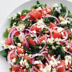 I am always on the look out for quick and easy salads that are a bit different from your standard lettuce, tomato and cheese combination. Not that there is anything wrong with a simple garden salad… Different Salads, Watermelon And Feta, Mint Salad, Tomato And Cheese, Easy Salads, Caprese Salad, Lettuce, Simple, Garden