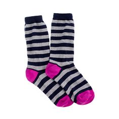 The trouser sock goes graphic. Dipped in neon at the heel and toe, these brightly striped basics are too cute to hide under sneaks and boots.