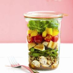Balsamic Grilled Chicken Salad...love the idea of taking your lunch in a mason jar.