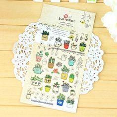 Fragrant potted DIY Kawaii sticker 1 sheet high quality South Korea self adhesive scrapbook epoxy sticker design about gardening