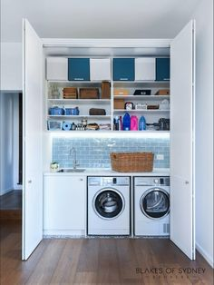 Laundry Cupboard, Garage Laundry, Laundry Room Doors, Laundry Room Layouts, Laundry Room Remodel, Laundry Closet, Laundry Room Organization, Laundry In Bathroom, Laundry In Kitchen