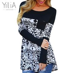 yilia 2016 New Women Autumn Spring T-Shirt Long Sleeve Black Print Printed Pockets T Shirt Female Tops Camisas Femininas