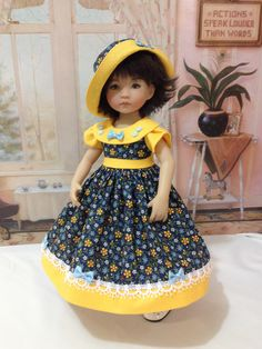 """Little Darling """"Sunshine and Bows""""  dress and hat for LIttle Darling doll by craftymagaw on Etsy https://www.etsy.com/listing/272628870/little-darling-sunshine-and-bows-dress"""