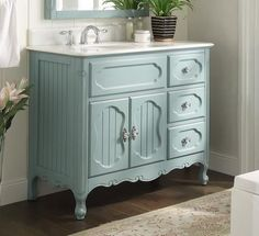 Benton Collection Victorian Cottage Style Knoxville Bathroom sink vanity Model — Dimensions: 42 x 21 x Victorian cottage style Knoxville series was create with inspiration by Victorian residential architect George Frank. Single Bathroom Vanity, Vanity Sink, White Bathroom, Modern Bathroom, Small Bathroom, Vanity Cabinet, Colorful Bathroom, Silver Bathroom, Bathroom Bin