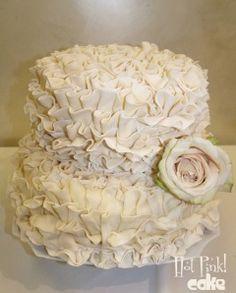 Two Tier Ruffled Wedding Cake