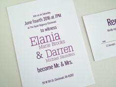 Printable Modern Wedding Invitation and response card, Wedding Invite, Purple wedding