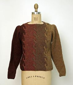 "Striped wool sweater, by Perry Ellis, fall/winter Label: ""Perry Ellis/Knitted by Hand/in the British Crown Colony of Hong Kong"" Costume Institute, How To Purl Knit, Perry Ellis, Sweater Design, Knit Fashion, Vintage Knitting, Historical Clothing, Fashion History, Wool Sweaters"