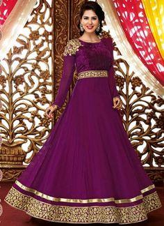 Aqua Purple Designer Patch Border Anarkali Suit