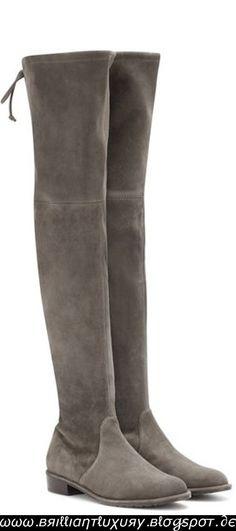 Brilliant Luxury   Stewart Weitzman  Lowland  Overknee Boots Grey Over Knee  Boots a720f8ab9e83