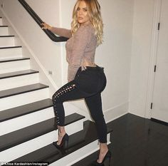 Step on up: Khloe showed off her derriere as she promoted her Good American jeans in an Instagram snap shared Thursday