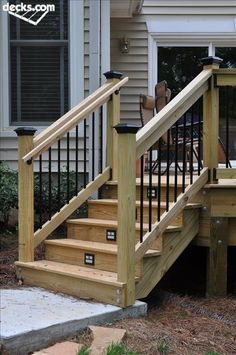 Steps themselves need to be wider and open   Deck Step Railing | Deck Stair Railings - Decks.com