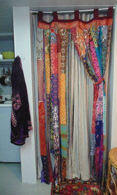 Bohemian Dream bright metallic fabrics door curtain Gypsy sequins boho chic decor TAKING Custom Orders-Bohemian Dream bright ethnic fabric door by TheSleepyArmadillo www. Bohemian House, Bohemian Living, Bohemian Decor, Boho Chic, Gypsy Decor, Bohemian Gypsy, Bohemian Curtains, Drapes Curtains, Bright Curtains
