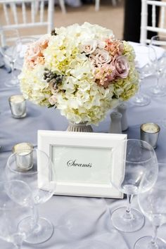 Hydrangea centerpiece - L'Auberge Del Mar Wedding from Aaron Shintaku Photography