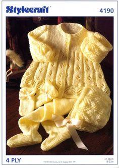 Vintage Knitting Pattern Knit Baby to Toddler Girl 4 Pc Pram Set Matinee Jacket Leggings Mitts Bonne Baby Knitting Patterns, Baby Cardigan Knitting Pattern, Knitted Baby Cardigan, Baby Patterns, Sweater Hat, Pram Sets, Baby Boy Or Girl, Baby Boys, Toddler Girl
