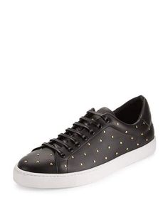 BURBERRY ALBERT STUDDED LEATHER LOW-TOP SNEAKERS, BLACK. #burberry #shoes #