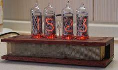 Nixie tube wooden handmade clock by BlackAlexNixieClock on Etsy