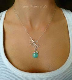 Gemstone Leaf Necklace - Branch Pendant Necklace