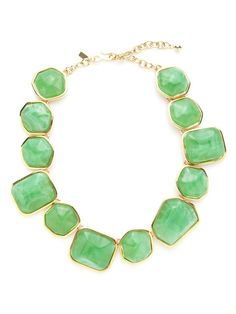 Green Resin Multi-Shape Station Necklace by Kenneth Jay Lane on Gilt