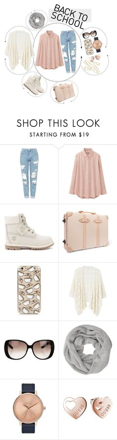 """BACK TO SCHOOL"" by ara-teca ❤ liked on Polyvore featuring Topshop, Uniqlo, Timberland, Globe-Trotter, MANGO, Gucci, John Lewis, Nixon and GUESS"