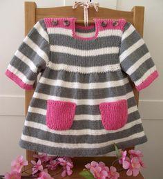 Ravelry: Happy Day Baby Dress pattern by Lilia Vanini - Kinder Kleidung Baby Knitting Patterns, Knitting For Kids, Baby Patterns, Dress Patterns, Coat Patterns, Clothes Patterns, Sewing Patterns, Knit Baby Dress, Ruffle Dress
